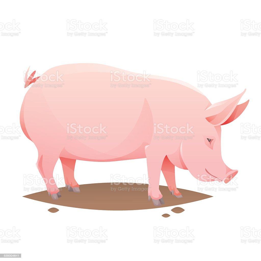Pink farm pig vector art illustration