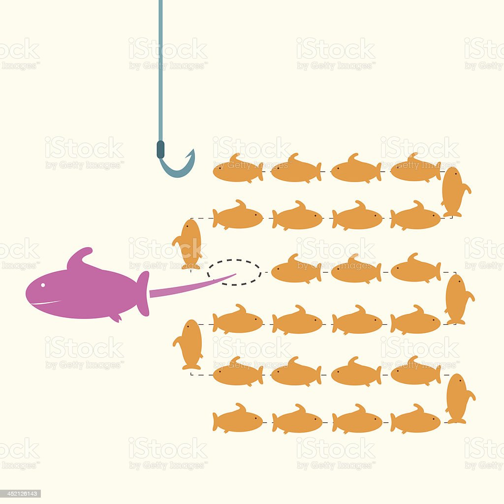 pink fish taking a risky different way,idea concept. royalty-free stock vector art