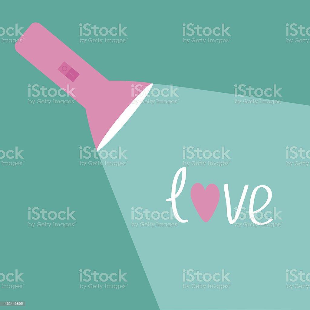 Pink flashlight and ray of light. Flat design. Love card. vector art illustration