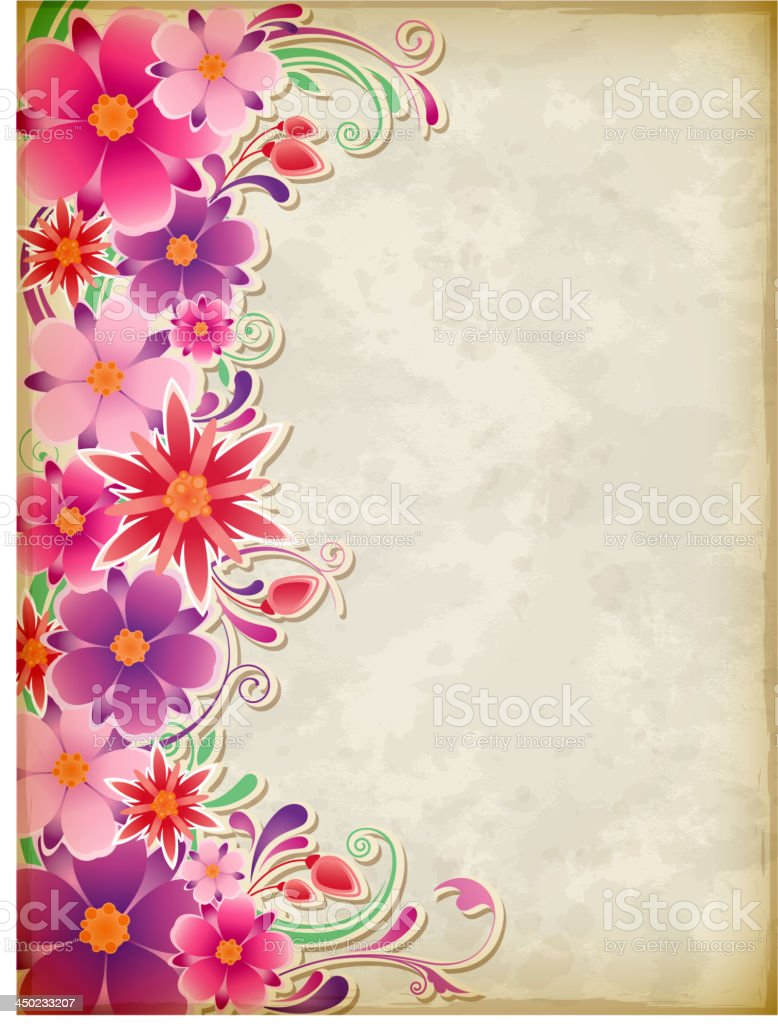 Pink floral background vector art illustration