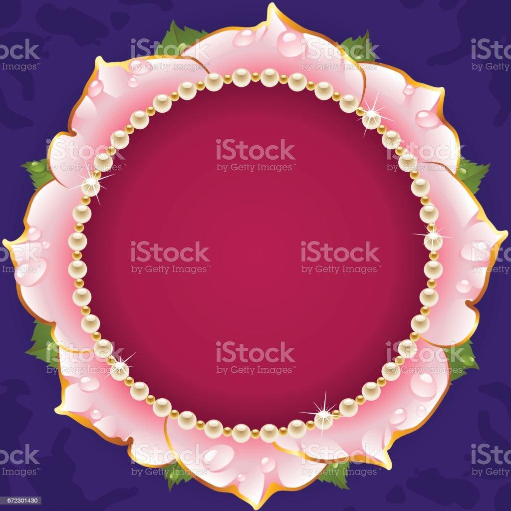 Pink Floral Circle Frame vector art illustration