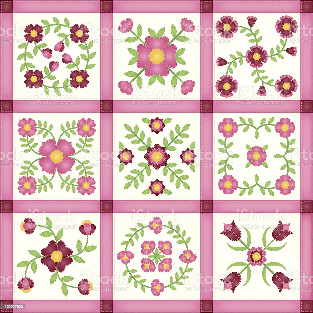 Pink Flower Applique Patchwork Quilt Blocks royalty-free stock vector art