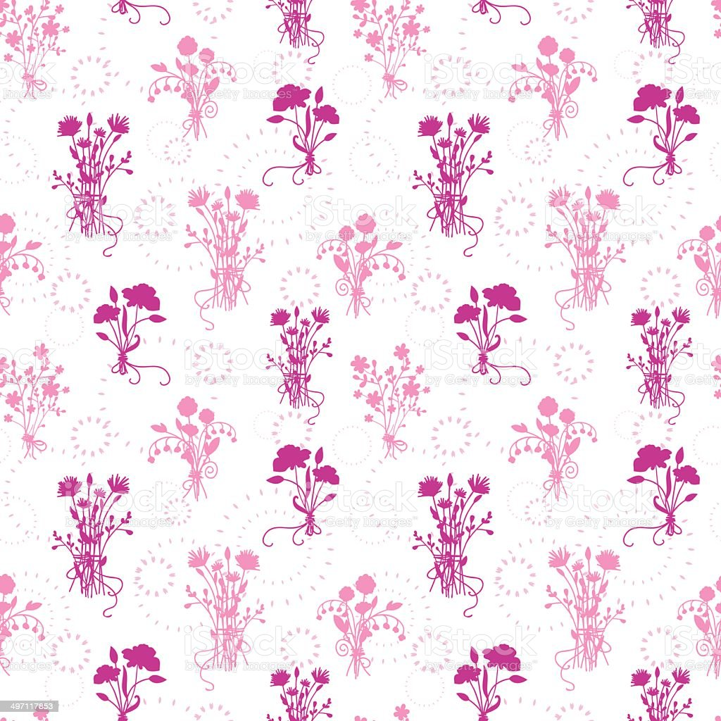 Pink flower bouquets seamless pattern background royalty-free stock vector art