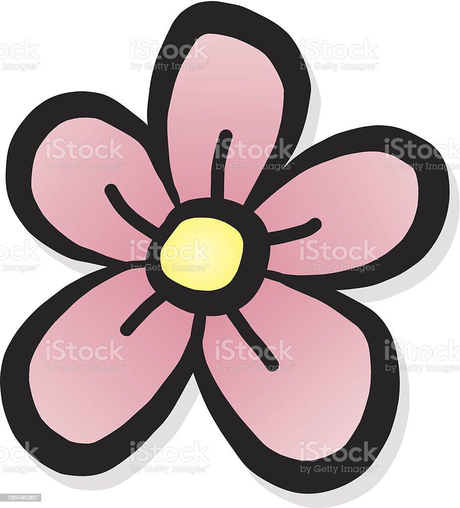 pink flower cartoon vector art illustration