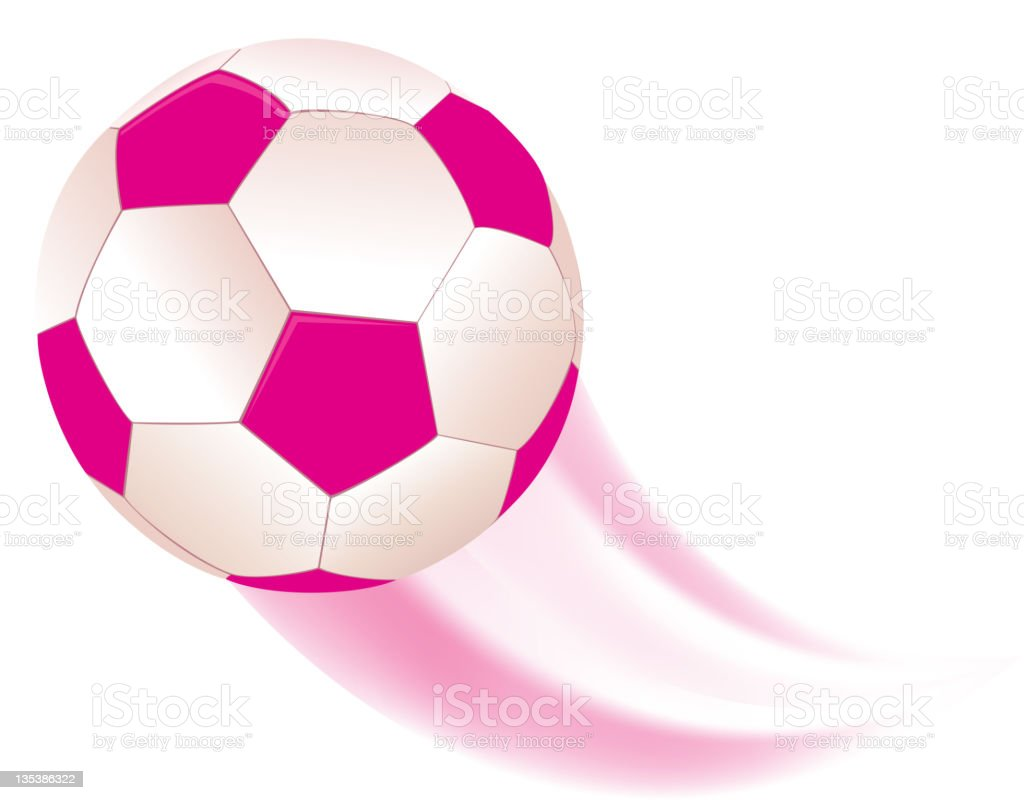 Pink Football, Soccer Ball with Swoosh vector art illustration