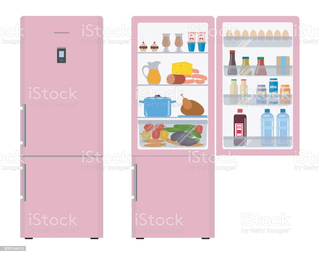 Pink fridge with open doors, a full of food vector art illustration