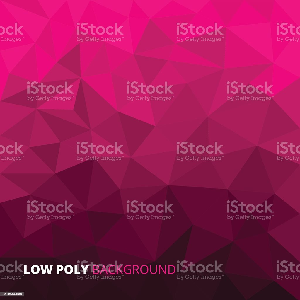 Pink fuchsia abstract geometric rumpled triangular low poly style vector vector art illustration