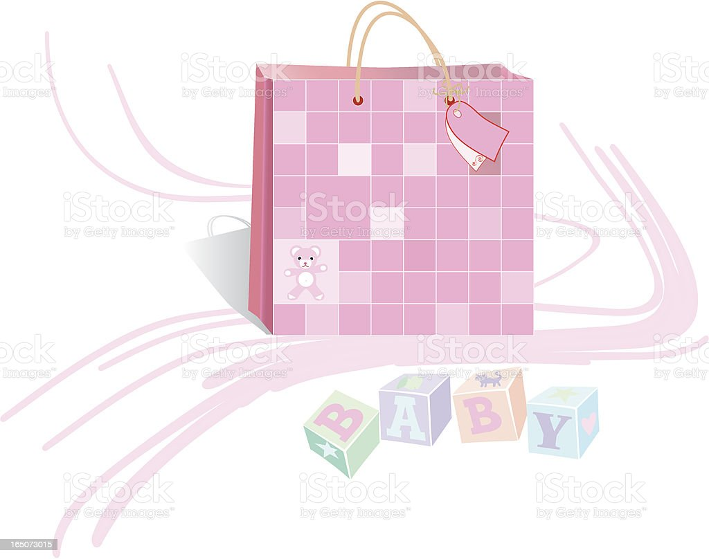 Pink Gift Bag for baby girl, with letters BABY royalty-free stock vector art