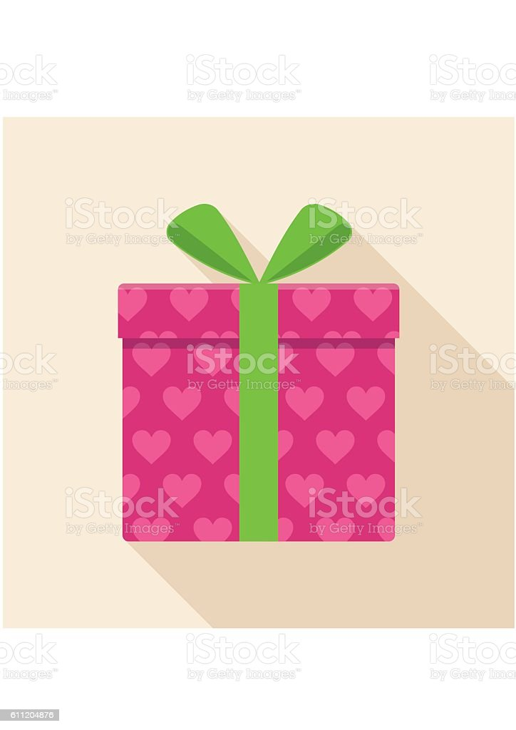 Pink gift, present box icon with green ribbon and bow. vector art illustration