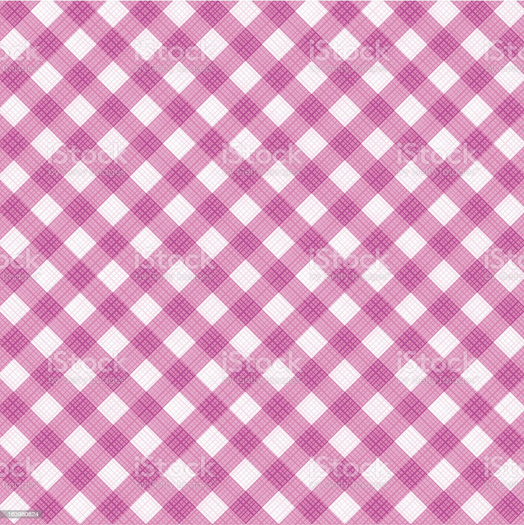 Pink gingham fabric cloth, seamless pattern included royalty-free stock vector art