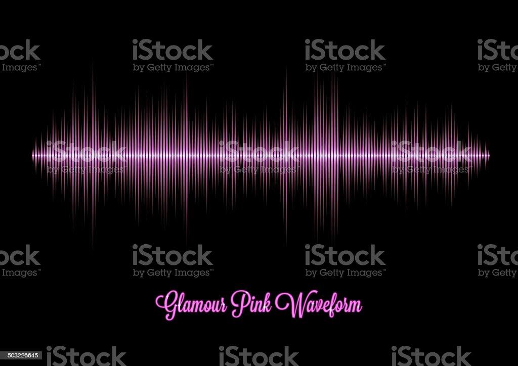 Pink glamour music waveform vector art illustration
