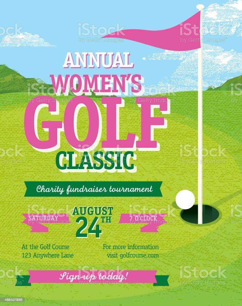 Pink Golf tournament invitation design template on golf green background vector art illustration