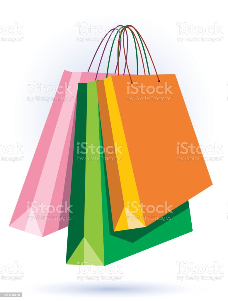 Pink green and orange shopping bag art royalty-free stock vector art