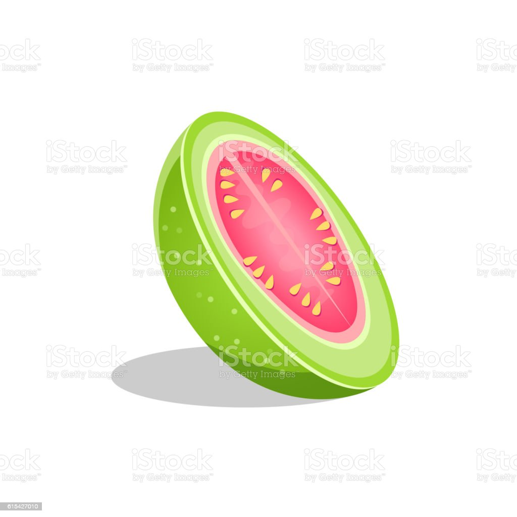 Pink Guava Fruit Cut In Half Bright Icon vector art illustration