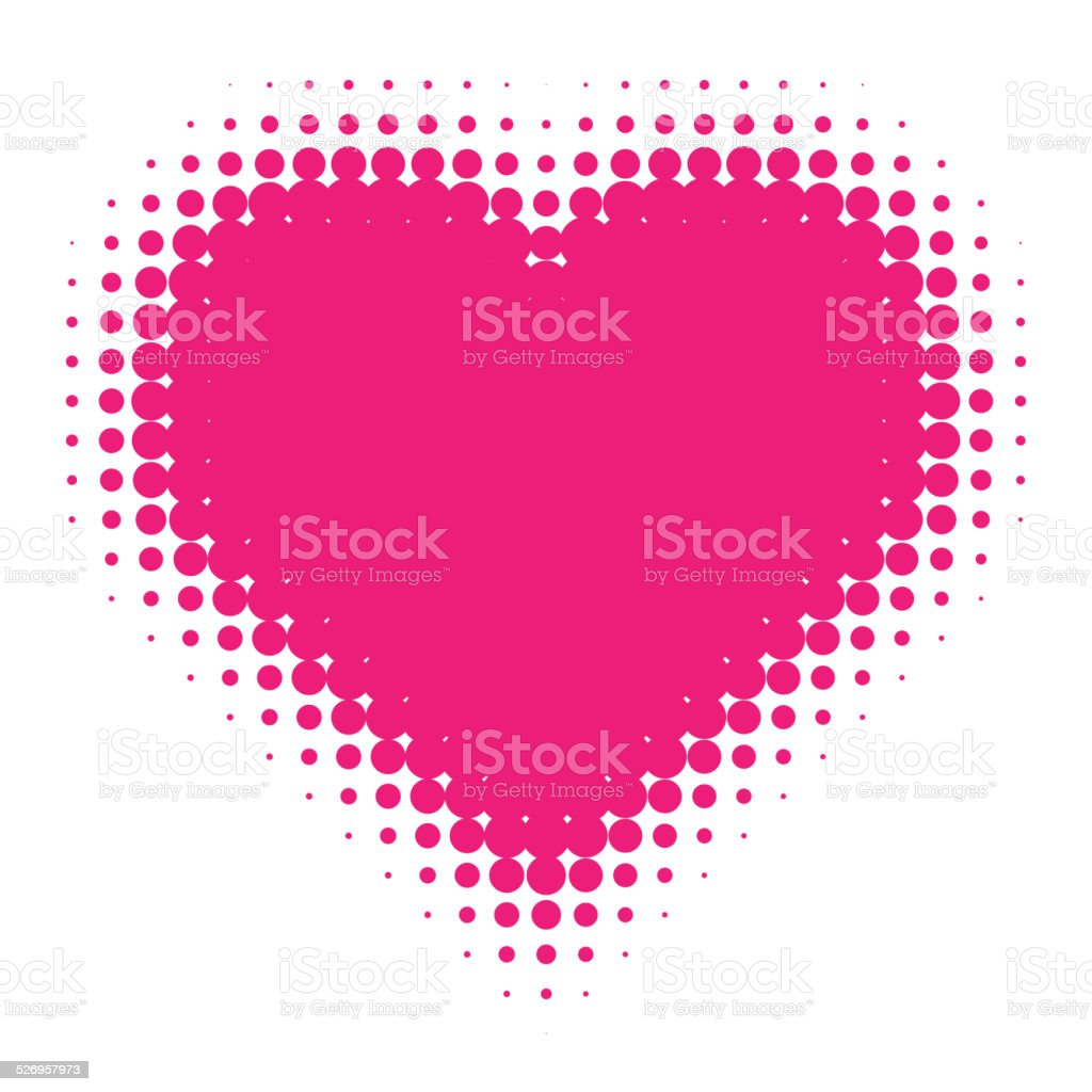 Pink Halftone heart. vector art illustration