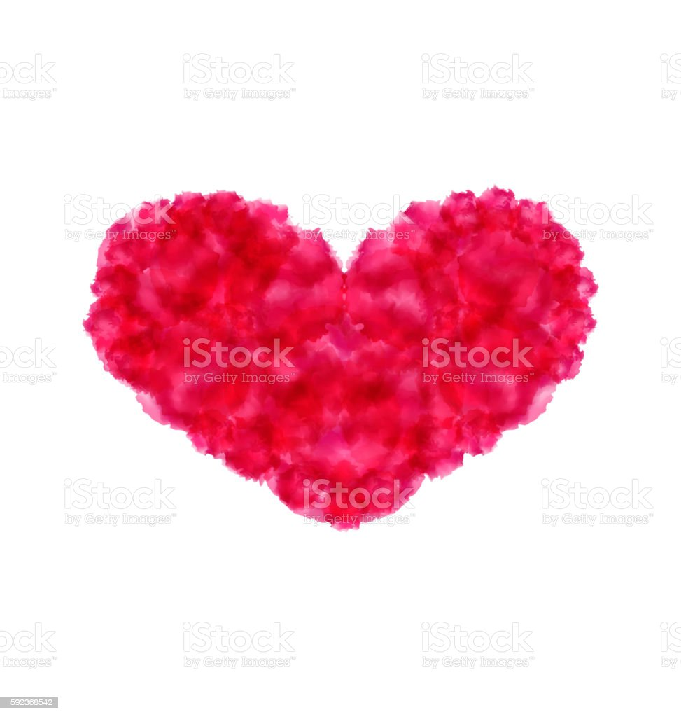 Pink hand-drawn watercolor heart isolated on white background fo vector art illustration