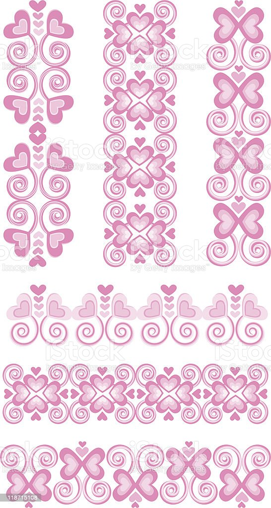 Pink Heart Borders vector art illustration