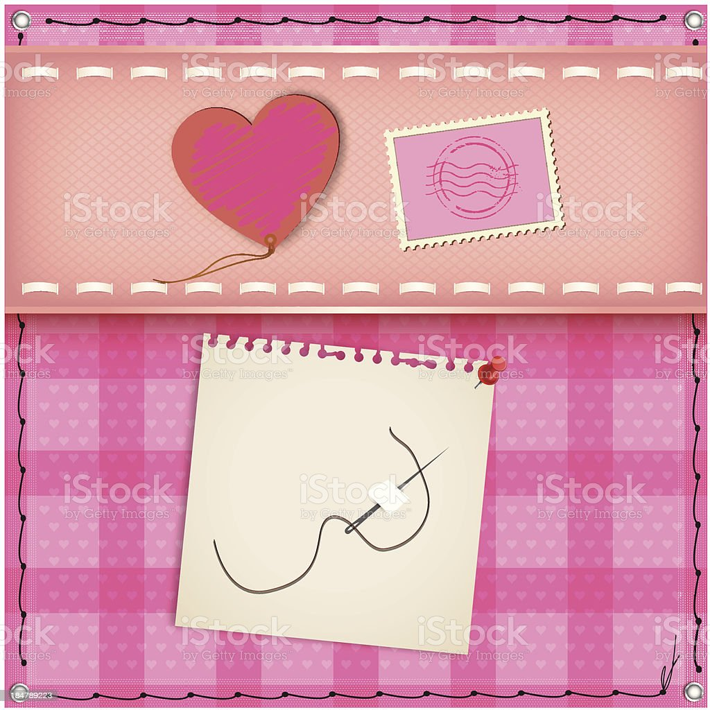 Pink Heart on canvas for the day of love royalty-free stock vector art