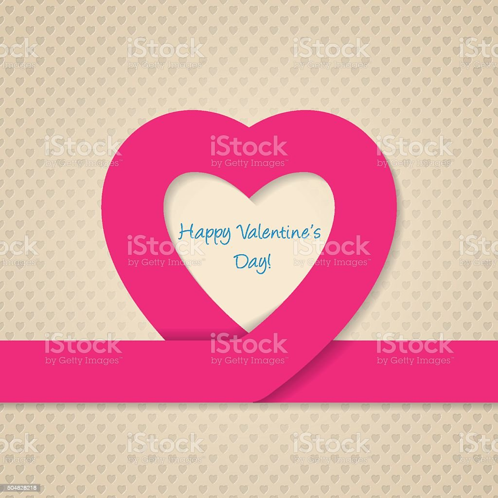 Pink Heart Ribbon Valentine Day Greeting Card Stock Vector Art