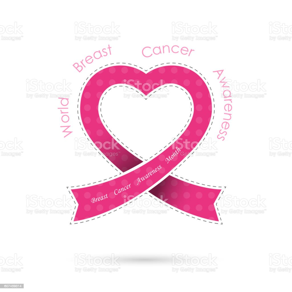 Pink heart ribon sign.Breast cancer awareness icon design vector art illustration