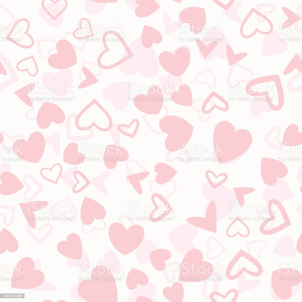 Pink Heart Shapes Mix Seamless Pattern vector art illustration