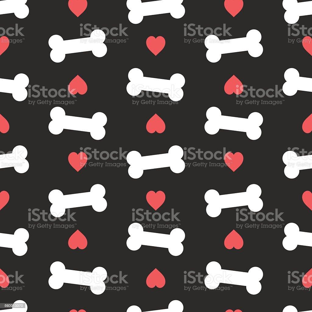 Pink hearts and bones seamless pattern.Dog feed vector illustration. vector art illustration