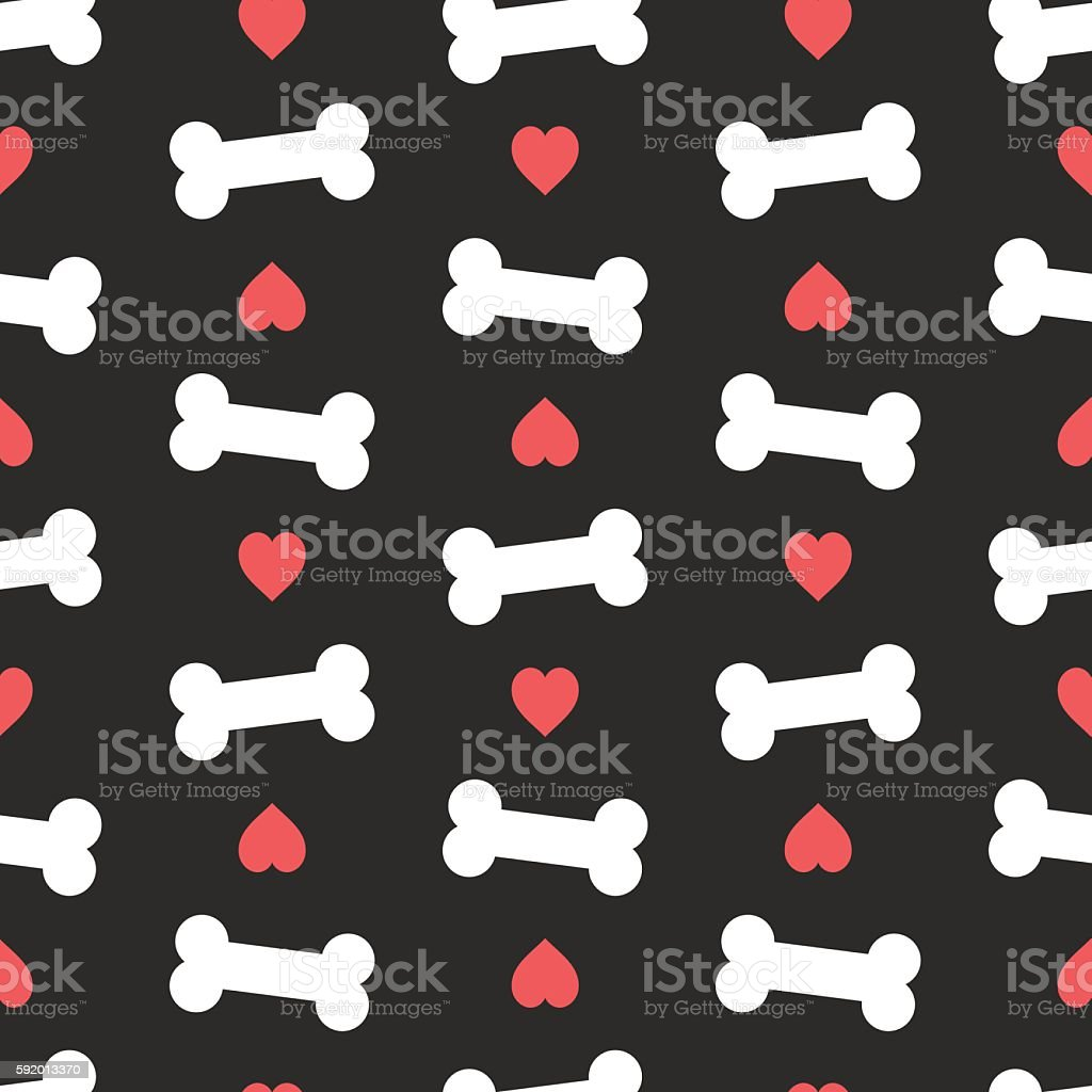 Pink hearts and bones seamless pattern.Dog feed vector illustration. vector art illustration