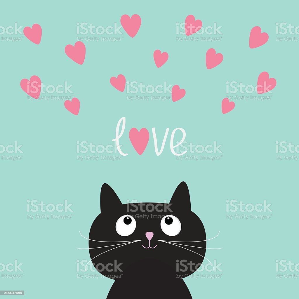 Pink hearts and cute cartoon cat. Flat design style. vector art illustration