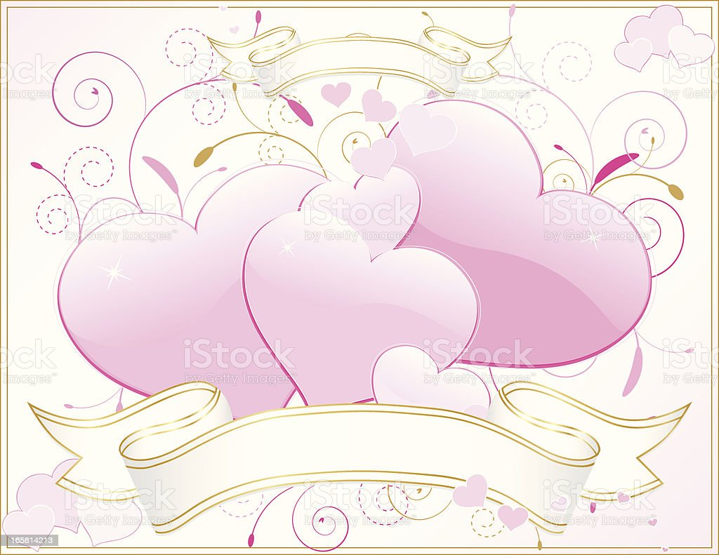 Pink Hearts, Flourishes with OPTIONAL White, Gold Ribbons and Background vector art illustration
