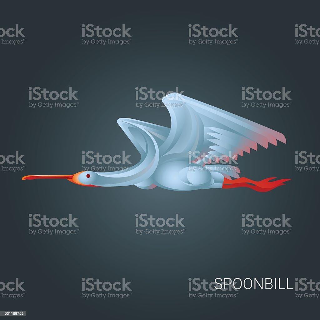 Pink heron in flight. vector art illustration