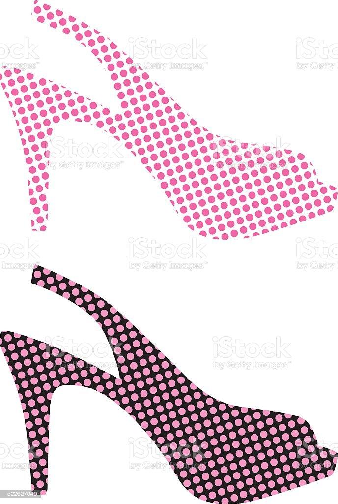 Pink High Heel Shoe Icons vector art illustration