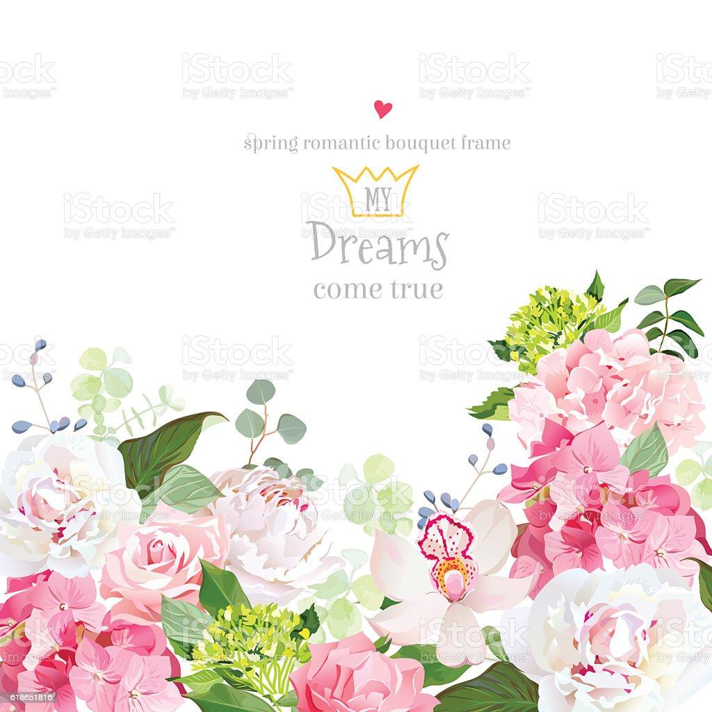 Pink hydrangea, rose, peony, orchid, carnation vector design card. vector art illustration