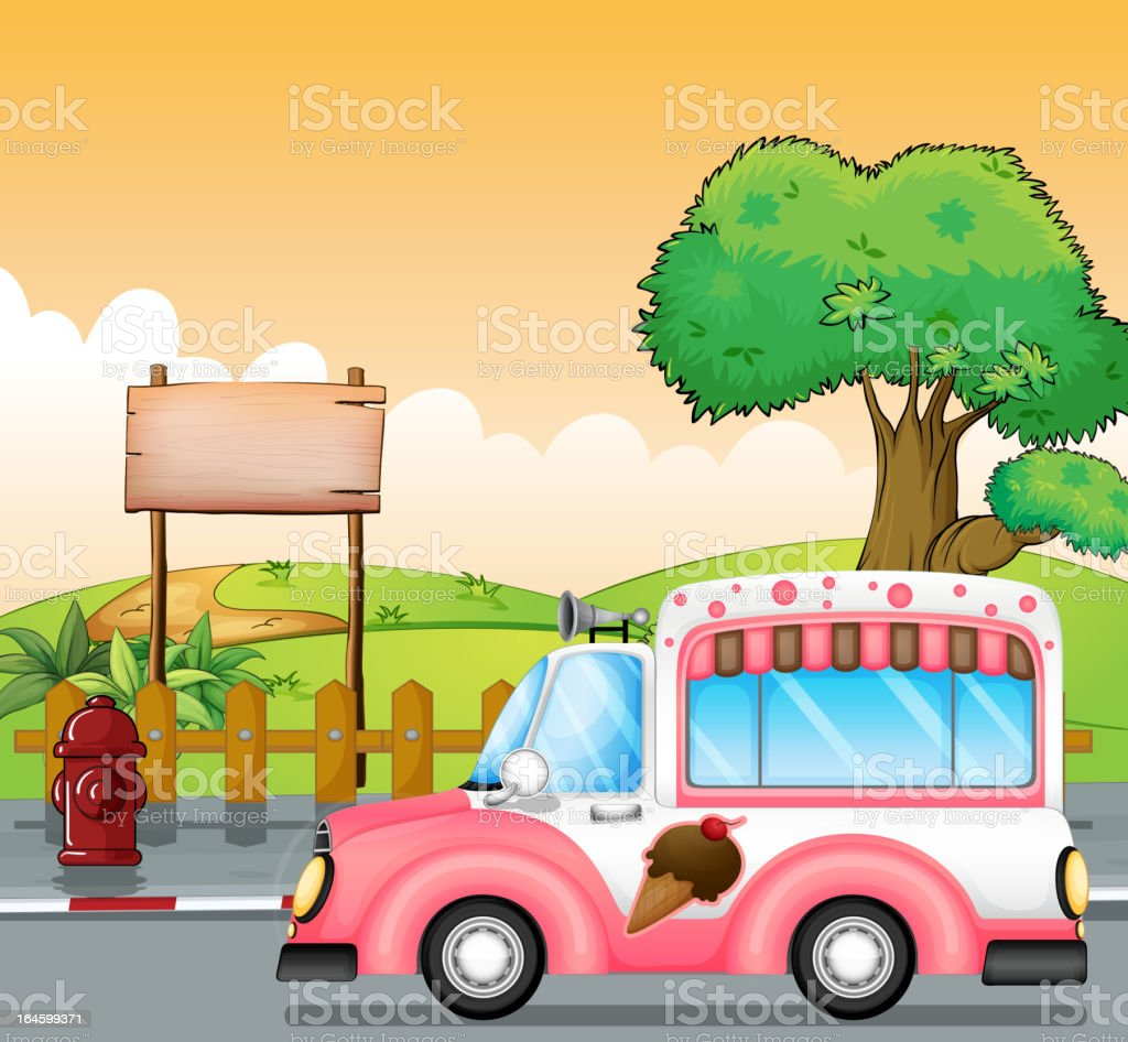 Pink ice cream bus and an empty board royalty-free stock vector art