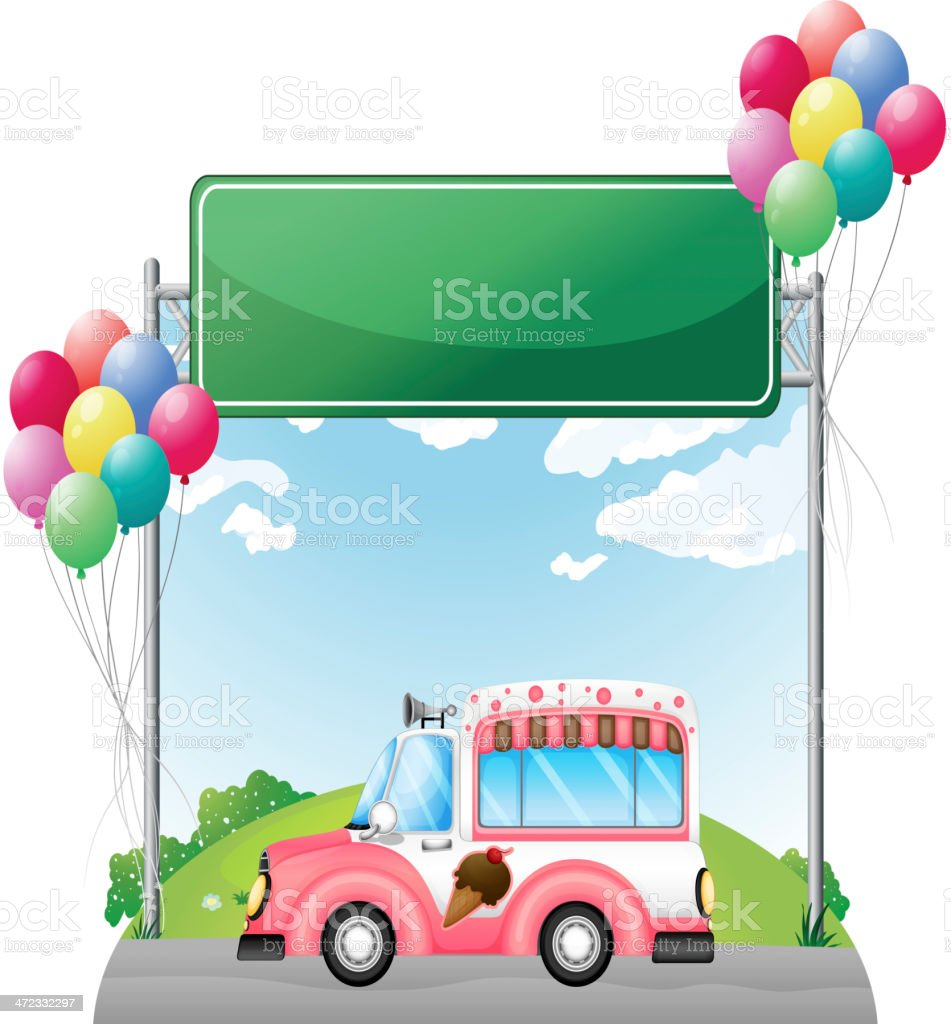 Pink ice cream bus near an empty green board royalty-free stock vector art