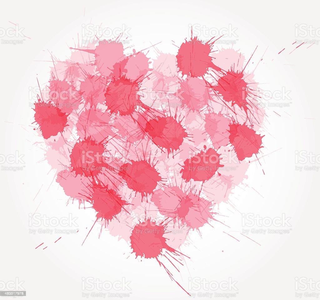 Pink ink splatter heart. vector art illustration