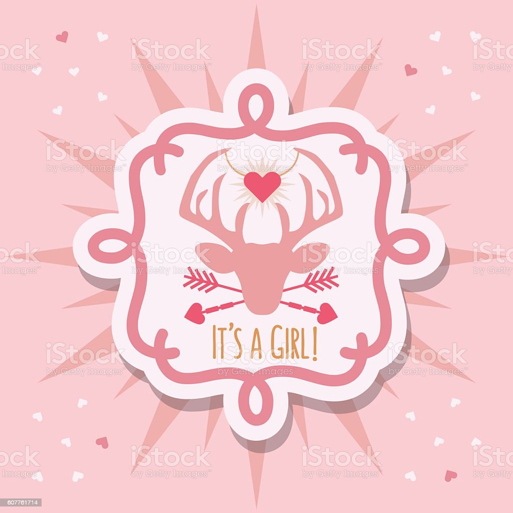 Pink It's a Girl deer head with hanging heart sticker vector art illustration