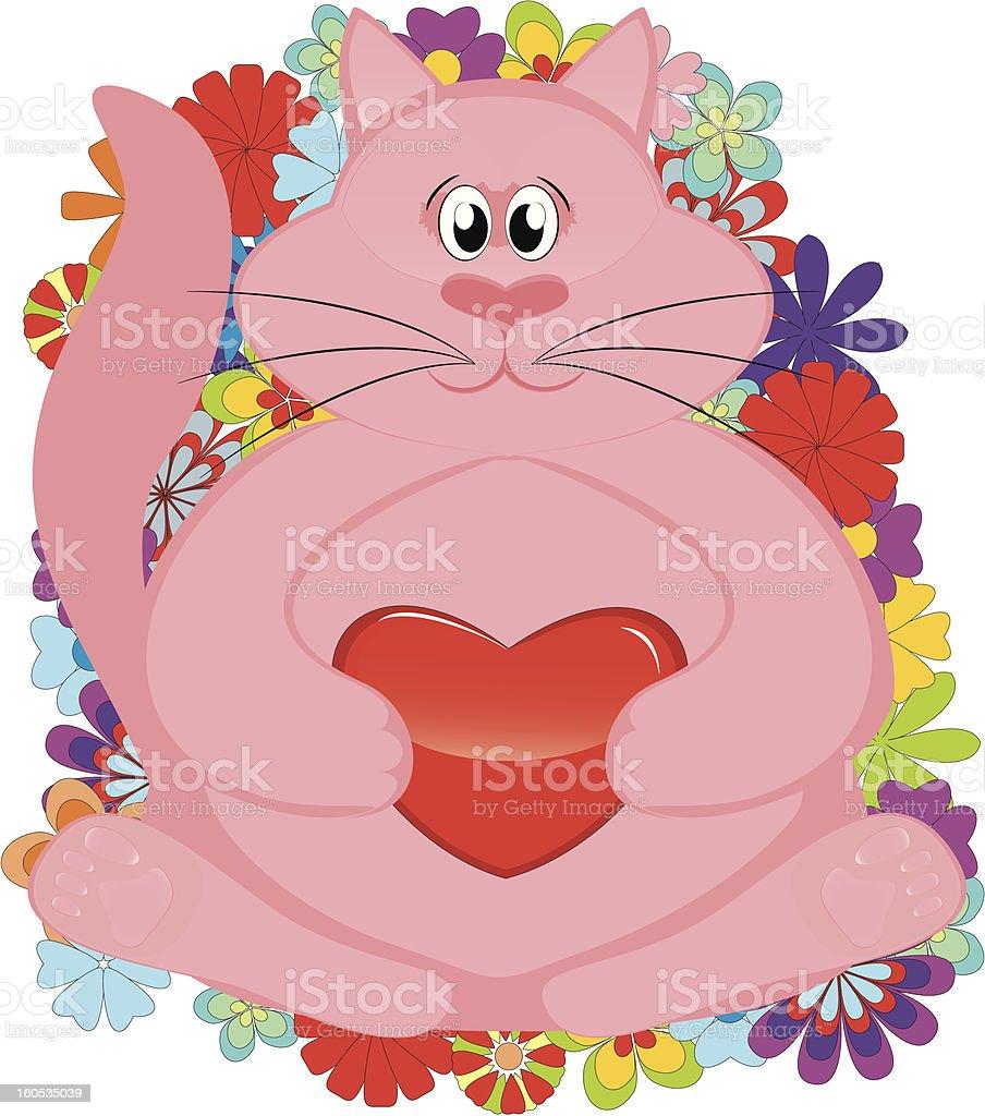 pink kitten with valentine heart - vector vector art illustration