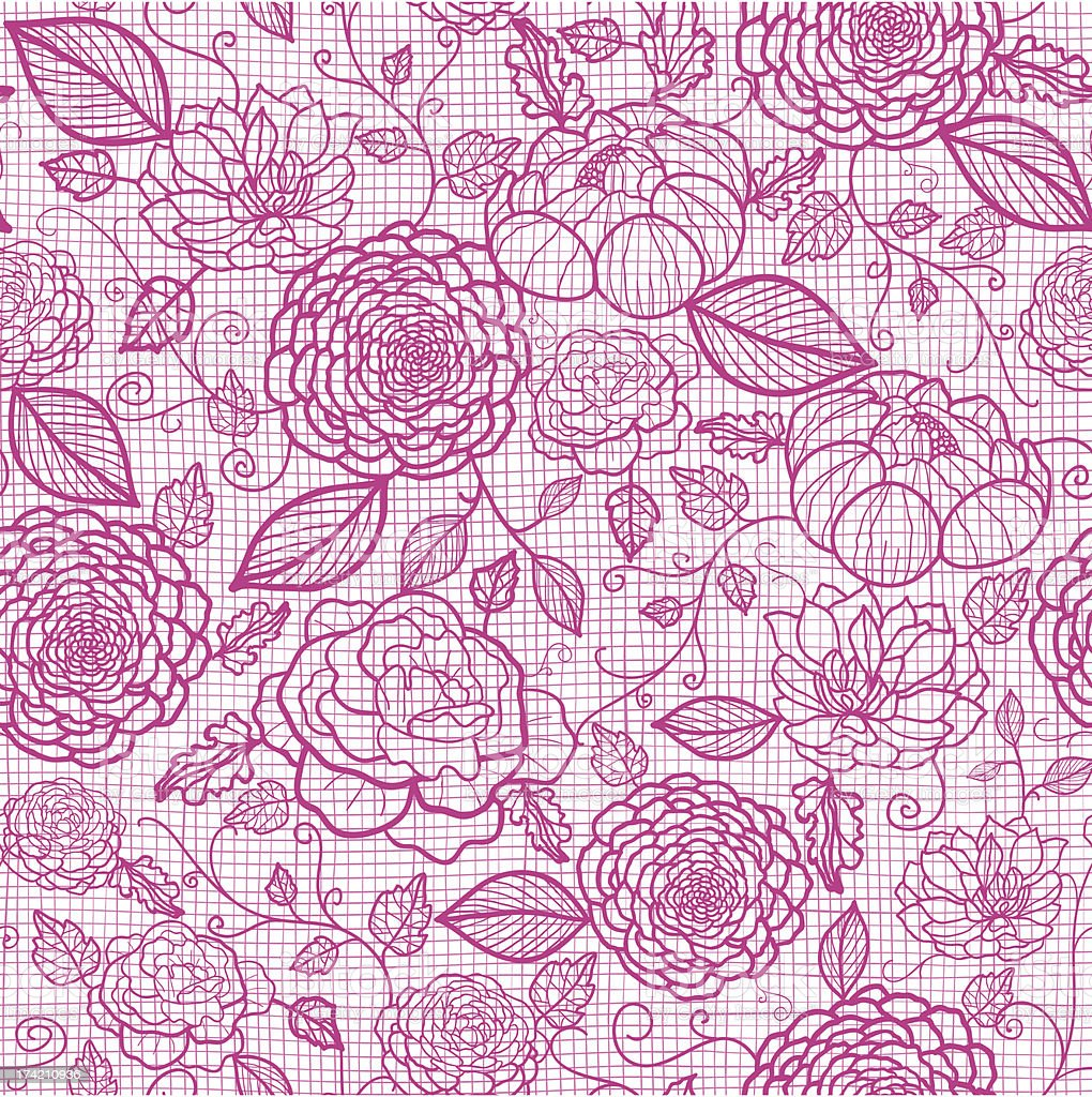 Pink lace flowers seamless pattern background royalty-free stock vector art