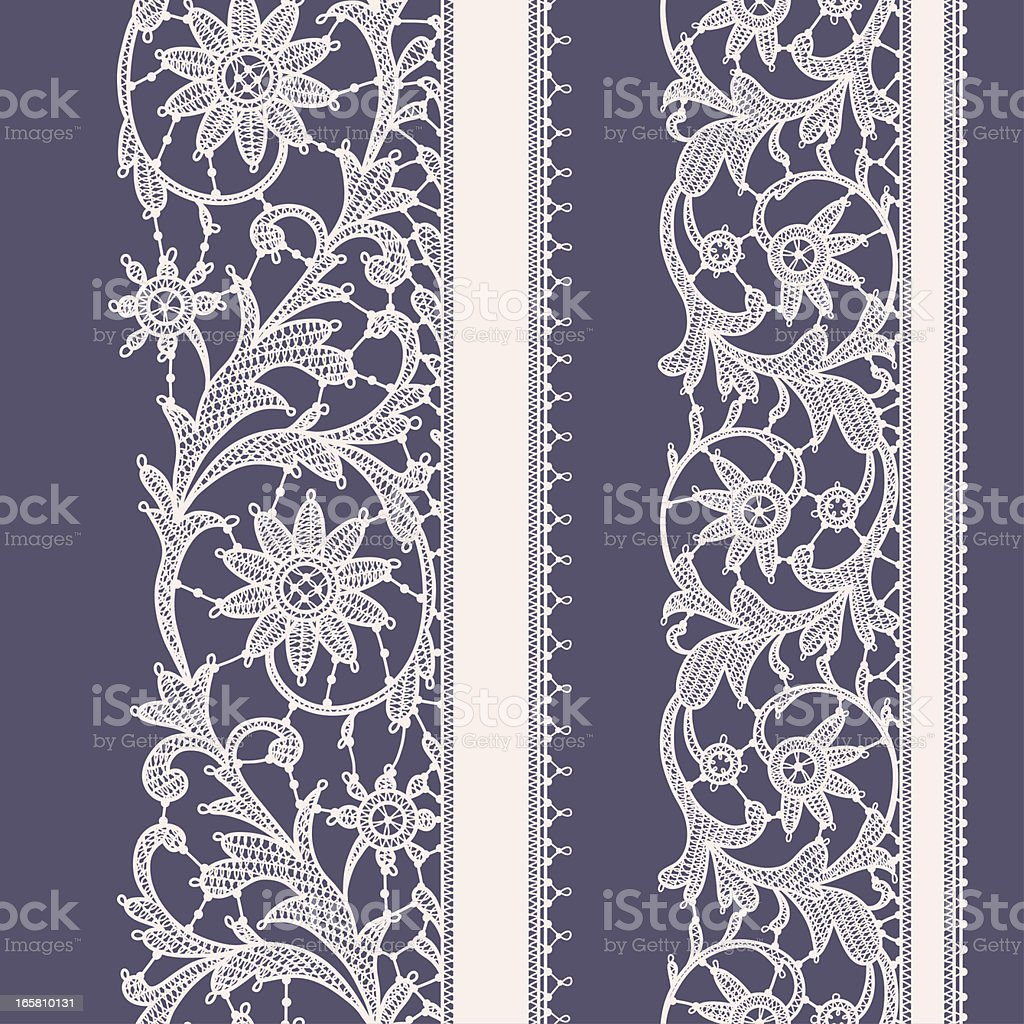 Pink Lace. Vertical Ribbon. Seamless Pattern. Violet Background. royalty-free stock vector art