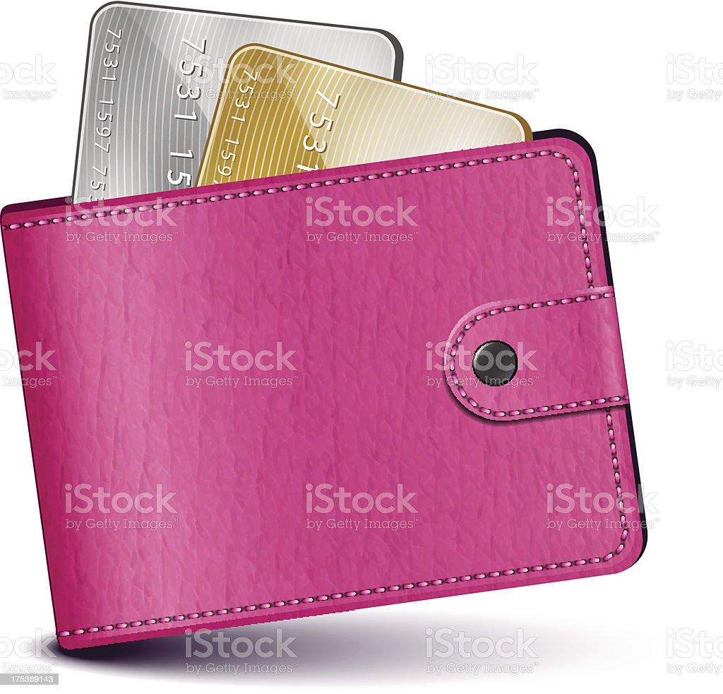 Pink leather wallet vector art illustration