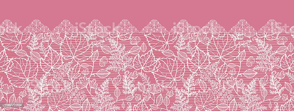 Pink Leaves Horizontal Lace Seamless Pattern Ornament royalty-free stock vector art