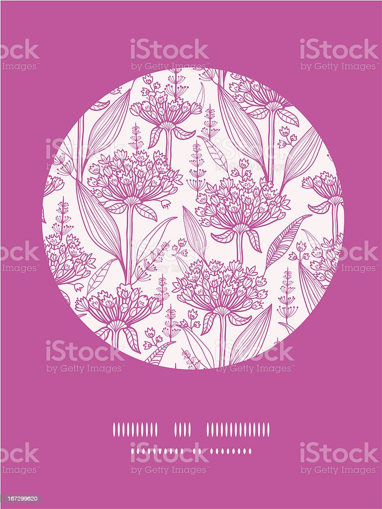 Pink lillies lineart circle decor pattern background royalty-free stock vector art