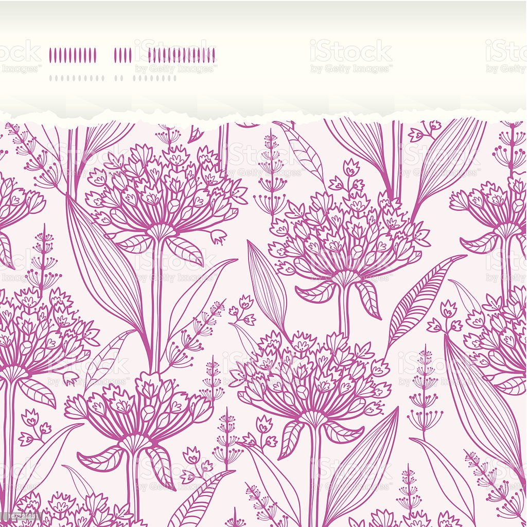 Pink lillies lineart horizontal torn seamless pattern background royalty-free stock vector art