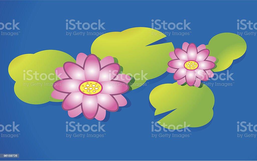 Pink Lotus Flower vector art illustration