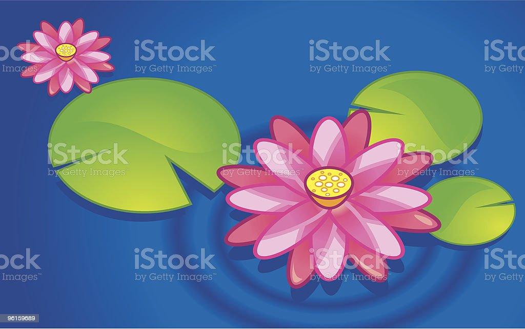 Pink Lotus vector art illustration