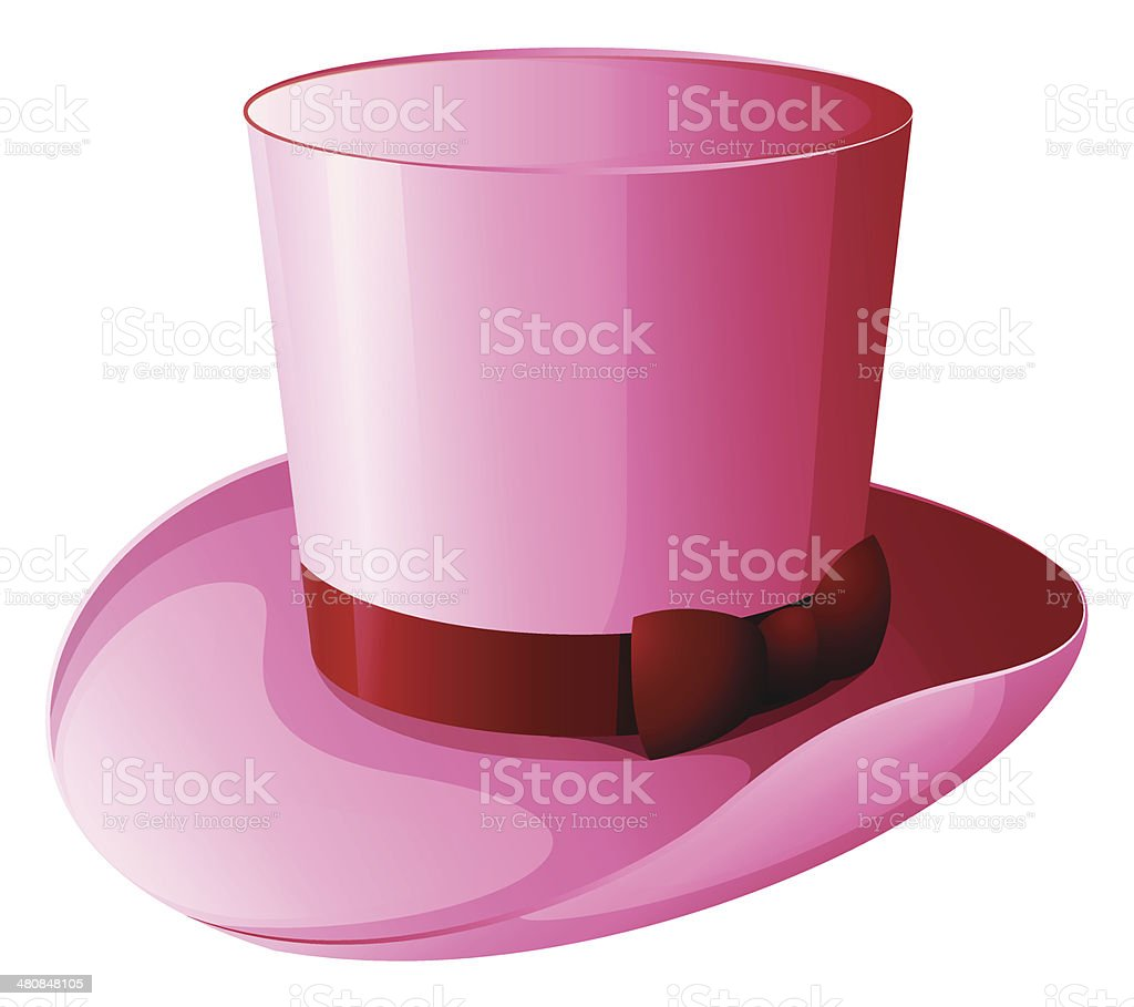 Pink magician hat with a red ribbon vector art illustration