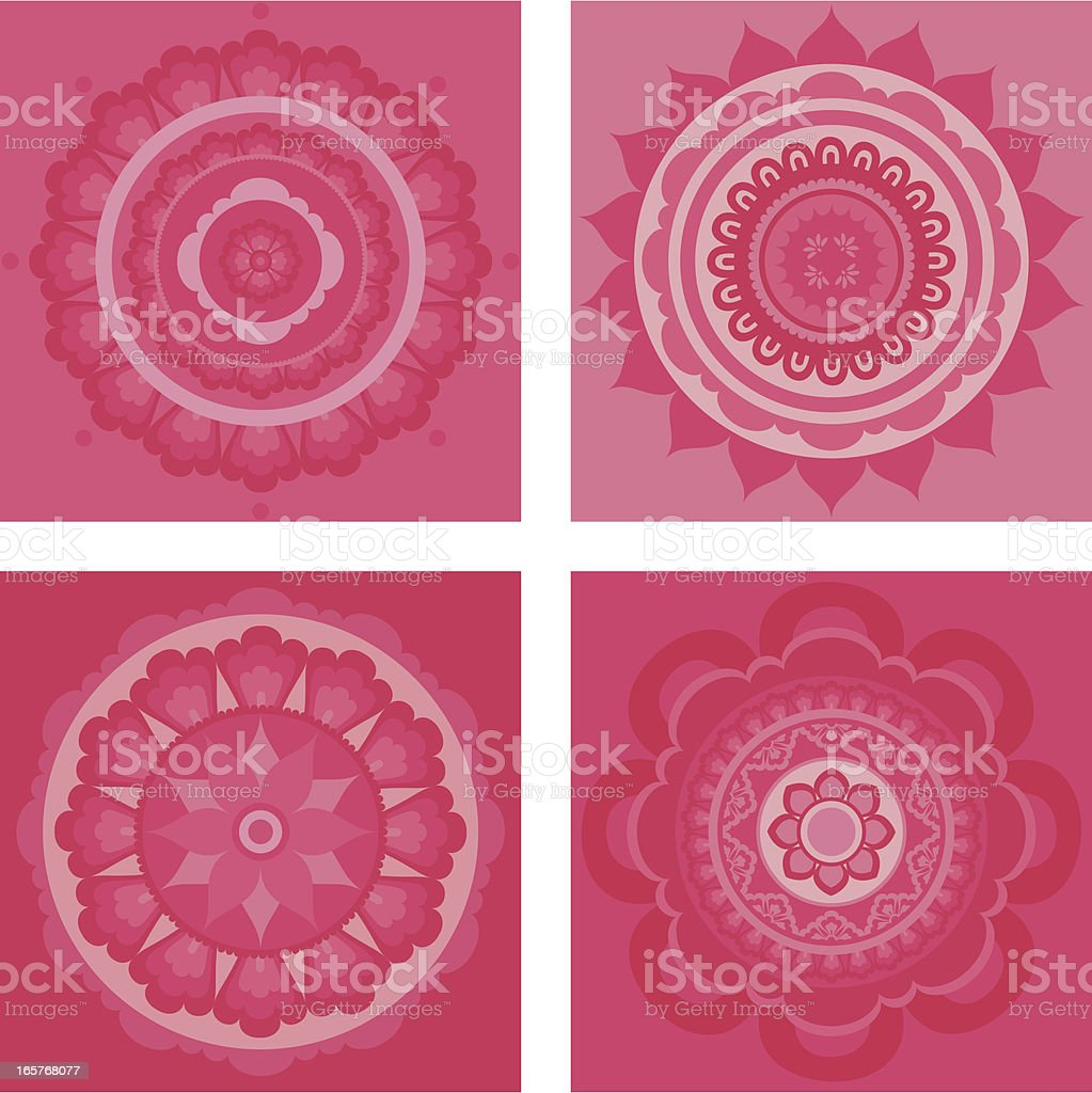 Pink Mandalas vector art illustration