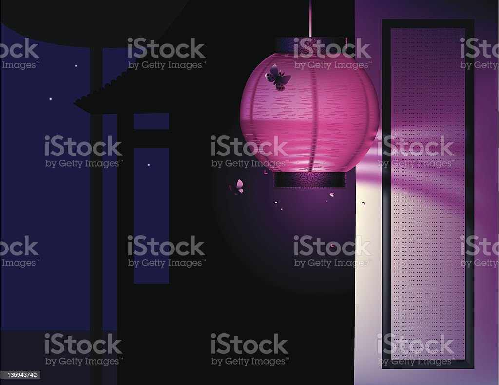 Pink paper lantern royalty-free stock vector art