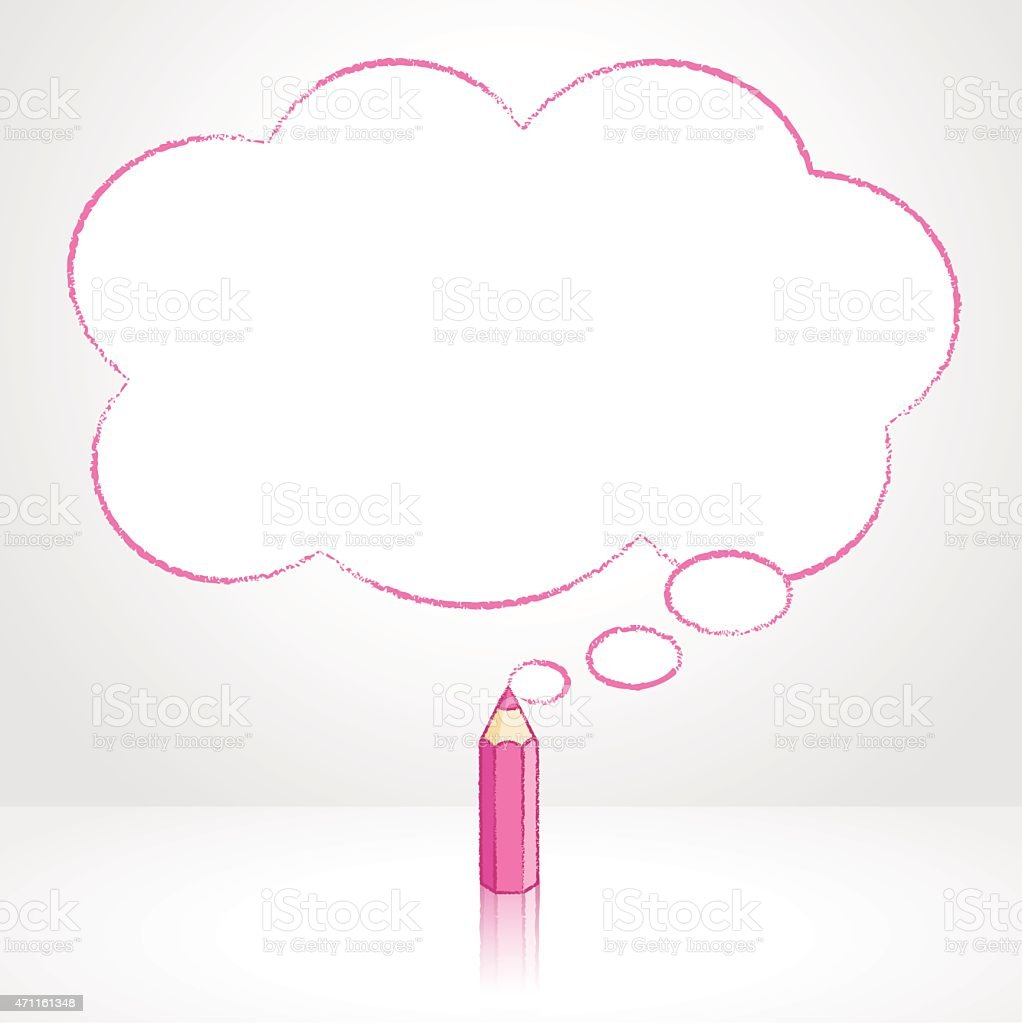Pink Pencil Drawing Fluffy Cloud Thought Balloon vector art illustration