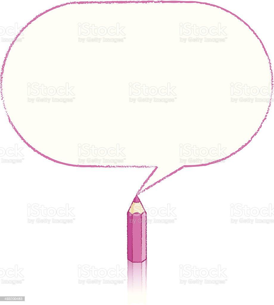 Pink Pencil Drawing Oblong Speech Balloon royalty-free stock vector art